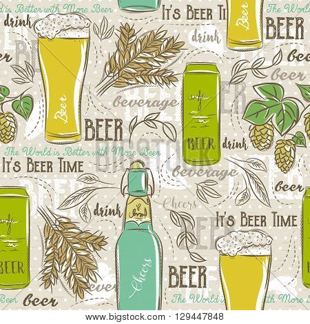 Beige seamless patterns with set of beer bottle mug hop barley and text. Ideal for printing onto fabric and paper or scrap booking.