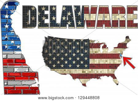 USA state of Delaware on a brick wall - Illustration, The flag of the state of Delaware on brick textured background,  Delaware Flag painted on brick wall, Font with the United States flag,  Delaware map on a brick wall