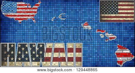 USA state of Hawaii on a brick wall - Illustration, The flag of the state of Hawaii on brick textured background,  Hawaiian Flag painted on brick wall, Font with the United States flag,  Hawaii map on a brick wall