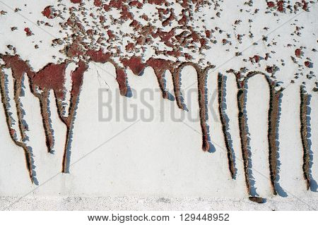 Old Dirty, Grunge,metal Fence With Runny Red Paint 12