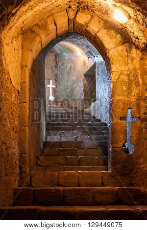 Santa Maria da Feira, Portugal - October 12, 2015: Subterranean Staircase with Embrasures in the Feira Castle.