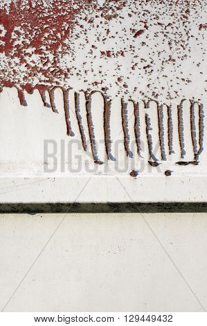 Old Dirty, Grunge,metal Fence With Runny Red Paint 11