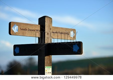 South Downs way footpath signs East Sussex