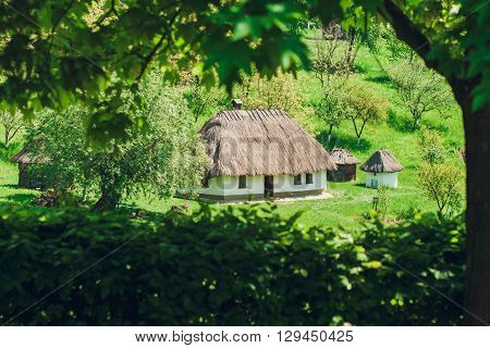 Old Jerry Houses Between Green Trees,Country Stile,Nature Vacation and Rest,Toned