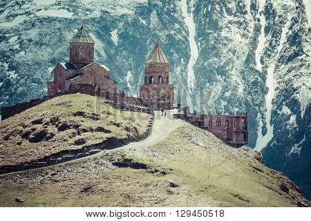 Georgia, Stepantsminda-sameba. Ancient Gergeti Trinity Church High In The Mountains.