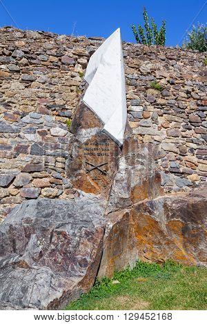 Castelo de Vide, Portugal - July 24, 2015: Monument to Salgueiro Maia, a revolutionary Captain of the April 25th, 1974, Revolution in Portugal. Castelo de Vide, Portugal.