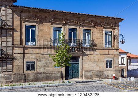 Castelo de Vide, Portugal - August 30, 2015: Former Santo Amaro Hospital (Santa Casa da Misericordia)  in Dom Pedro V Square, Castelo de Vide, Alto Alentejo, Portugal.