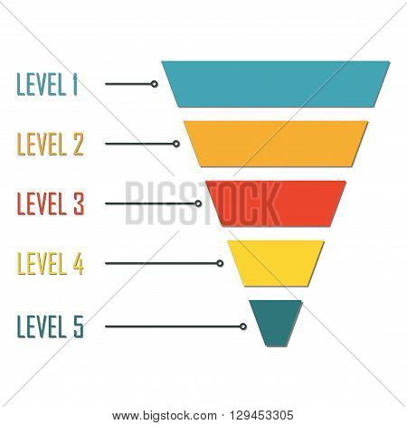 Funnel symbol isolated on white background. Infographic or web design element. Template for marketing, conversion or sales. Colorful vector illustration.