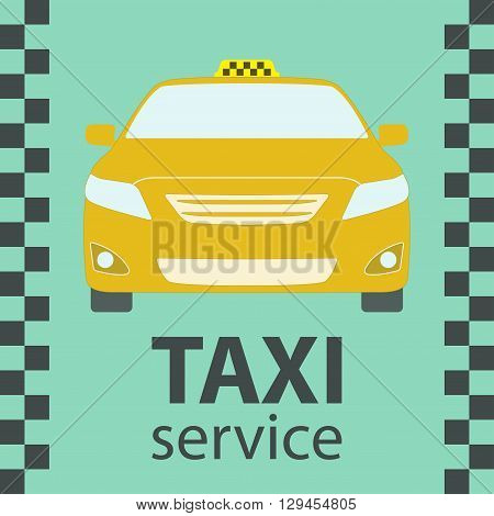 Taxi car symbol. Front view. Taxi service design. Vector illustration.