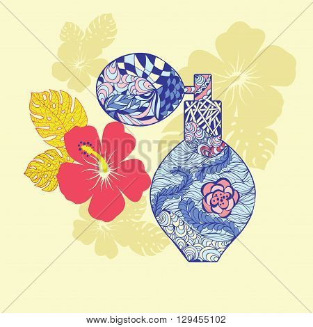 Beautiful perfume bottle with flower in doodling zentangle style. Hand drawn Perfume and flowers in vector fashion background.