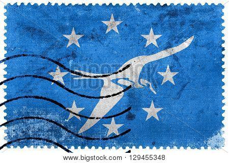 Flag Of Corpus Christi, Texas, Old Postage Stamp