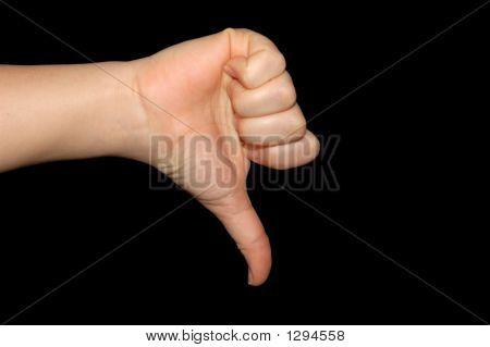 Thumb Down As A Negative Sign, Isolated On Black With Clipping-P