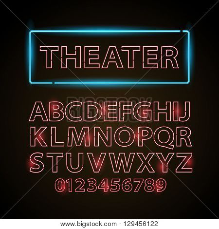 Vector red neon lamp letters font show cinema or theather