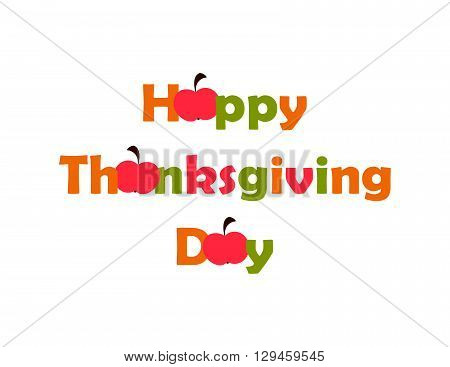 Thanksgiving Day with red apples  on the white background. vector. flat