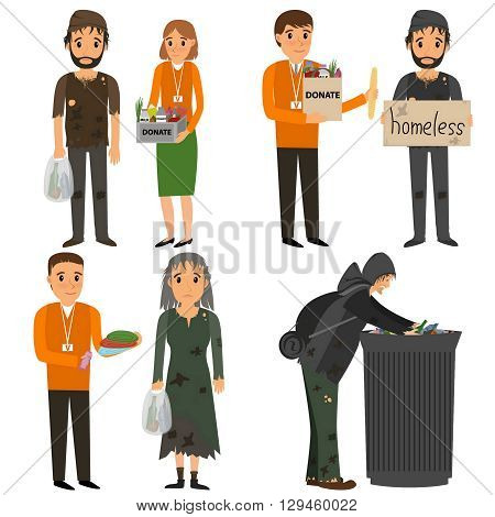 Volunteer and homeless. Volunteers design concept set with people helping homeless. Vector flat cartoon illustration