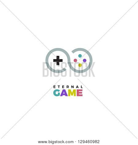 Gamepad logo. Gamepad vector logo. Joystick logo. Joystick vector logo. Game logo. Game vector logo illustration. Videogame logo. Videogame vector logo