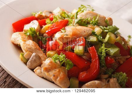Chicken Saute With Mushrooms And Vegetables Close-up. Horizontal