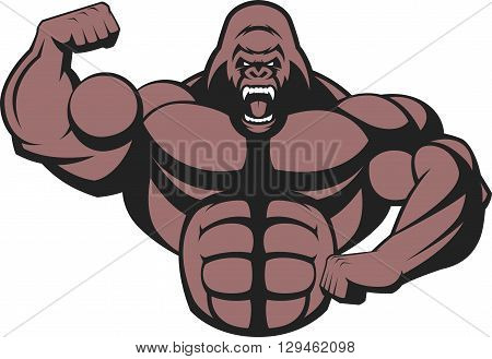 Vector illustration of a strong gorilla with big biceps.