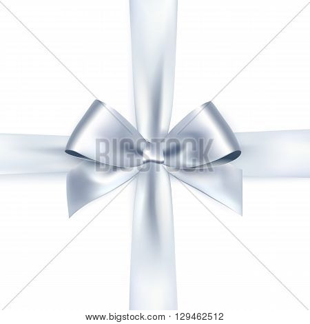 Shiny white satin ribbon on white background. Vector silver bow and ribbon