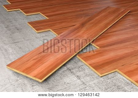 A floor being covered with hardwood planks 3D rendering