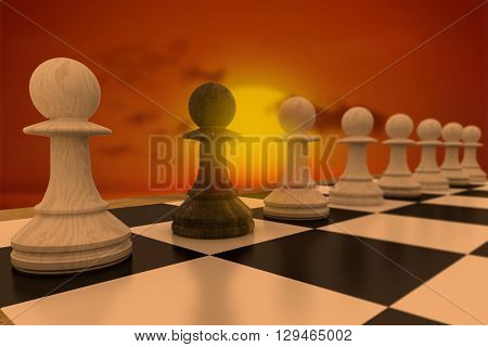 Black pawn defecting to white side against wooden planks against sunset