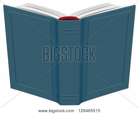 Open hardcover book. Isolated on white vector illustration