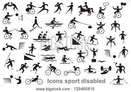 black icons on white background disabled sports and athletes wheelchair users