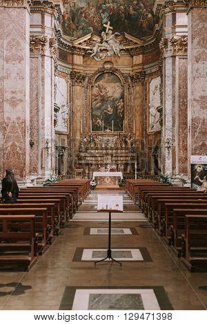 Rome, Italy - April 22, 2016: Santa Maria Maddalena church inside view on April 22, 2016 in Rome, Italy.
