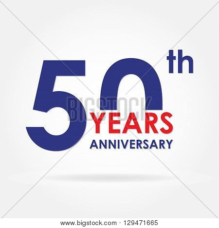 50 years anniversary sign or emblem. Template for celebration and congratulation design. Colorful vector 50th anniversary label.