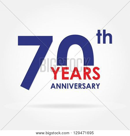 70 years anniversary sign or emblem. Template for celebration and congratulation design. Colorful vector 70th anniversary label.