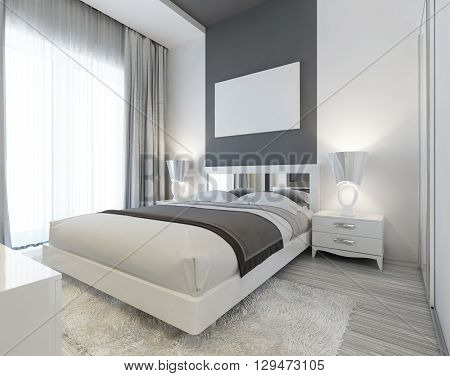 Bedroom in Art Deco style in white and gray colors. Modern carefully the laid bed with bedside tables and night lamps. Mockup poster on the wall. 3D render.