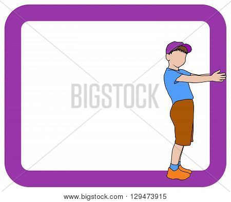 silhouette of boy holding dark magenta frame child hold rectangle isolated illustration boy with magenta border with place for your text
