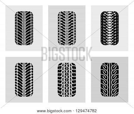 Tires in the front. Vector illustration on a colored background