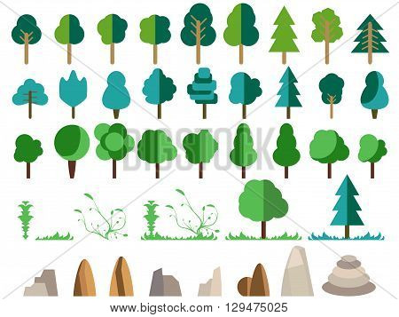 Flat trees rocks bushes and grass. Trees set in a flat design. Nature flat style. Vector icons.