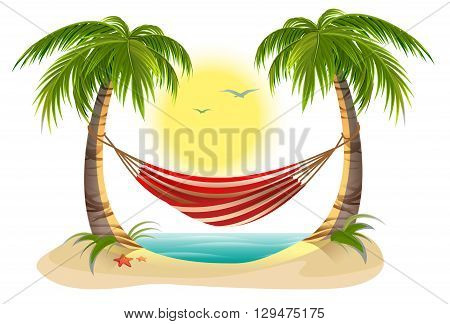 Beach vacation. Hammock between palm trees. Cartoon illustration in vector format