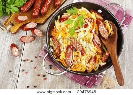 Stewed Cabbage With Smoked Sausage