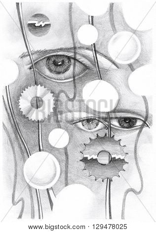 Abstract drawing of the eye and objects. Hand-drawn in pencil on paper.