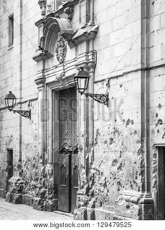 Sant Felip Neri Square church in Barcelona