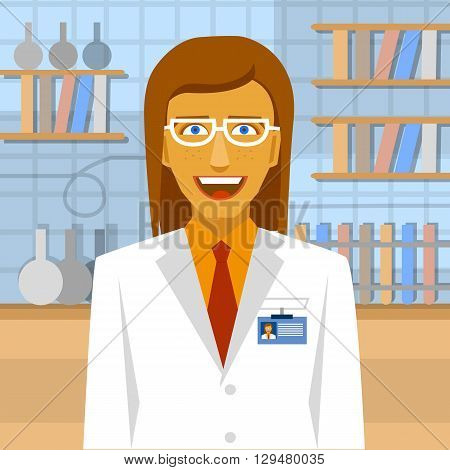 Female biochemist in laboratory background.  Laboratory concept