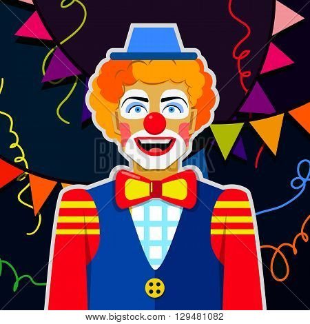 Funny clown with hat and colorful ribbons.