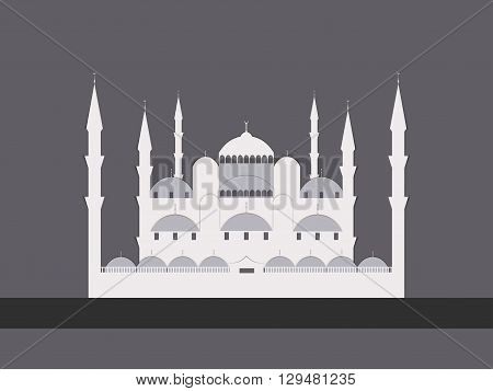 Paper Mosque. Blue Mosque. Ramadan Kareem celebration. Holy Month. Vector illustration.