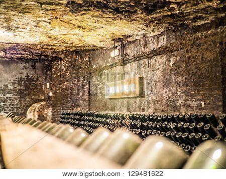 Sant Sadurni Spain - April 18 2014: The cava real (Royal Cava) inside the Freixenet cava.