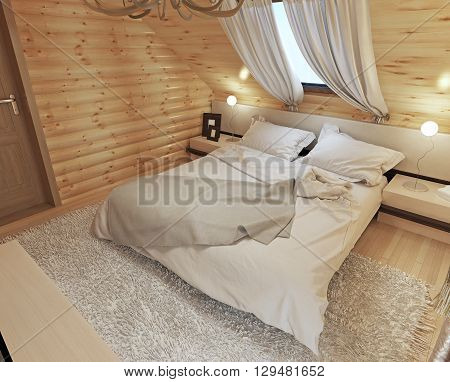 Bedroom interior in a log on the attic floor with a roof window. Large bedroom with bedside tables and a shaggy carpet. Bedroom in modern style. 3D render.