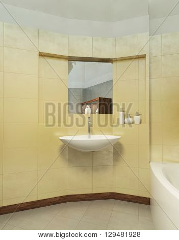 Bathroom in Contemporary style. Bathroom with gray and yellow tiles on the walls of a shower cubicle wash basin toilet and bidet. 3D render.