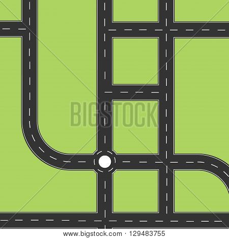 Road city top view. Road map or plan with circle and left right turns. Highway road. Road map background