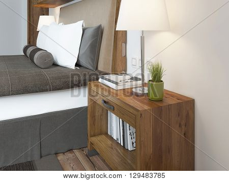 Wooden bedside table with a niche for the decor. Bedside table with lamp and books beside the bed. A bed in a rustic style. 3D render.
