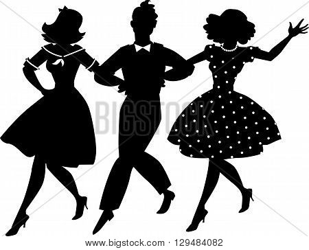 Black vector silhouette of three young people in vintage clothes walking arm in arm, no white objects