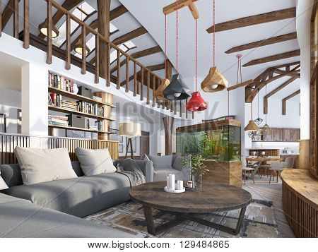 Interior living room loft style. Maisonette a modern living room with a billiard room in the big house. Aquarium and stylized shelving for books. 3D render