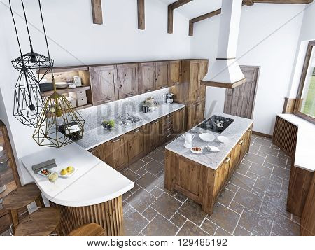 Modern luxury kitchen in a loft style. The design of a large kitchen with an array of light wood. 3D render.
