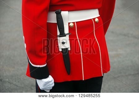 Picture of part of the uniform of a guard at changing of the Guard ceremony in Quebec city,Quebec, Canada.